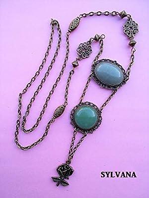 Pendentif aventurine, collier victorien, chaine bronze style rétro
