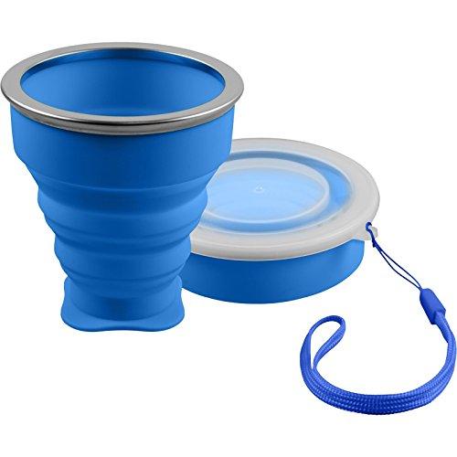 Shibby silicone pieghevole - bicchiere colore blu, coppa da viaggio pratica bicchiere da campeggio - 210ml