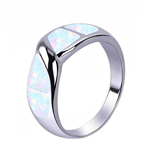 KELITCH Ring für Damen Fingerring Solitärringe Frauen Männer 925 Sterling Silber Überzogen Einfachen Weiß Opal Damen Ring - Größe 9 (59mm) (Damen-mode Ringe Größe 9)