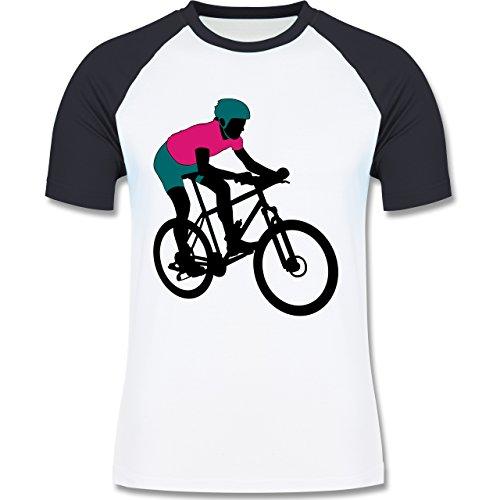 Radsport - Mountainbike MTB Geländefahrrad - zweifarbiges Baseballshirt für Männer Weiß/Navy Blau