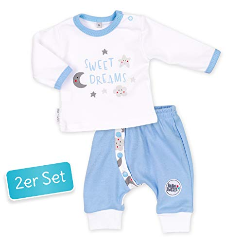 Baby Sweets Baby Set Hose + Shirt Jungen weiß hellbau | Motiv: Sweet Dreams | Babyset mit 2 Teilen für Neugeborene & Kleinkinder | Größe 3 Monate (62) (Baby Jungen Kleidung 0-3 Monate)