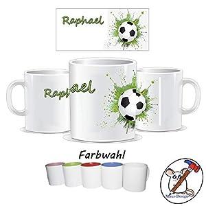 Fußball Kinder Tasse mit Name/Farbwahl Tasse + Schriftwahl für Name + Keramik oder Kunststoff