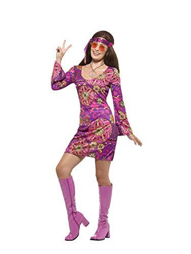 en Woodstock Hippie Kostüm, Kleid, Kopftuch und Medaillon, Größe: 40-42, mehrfarbig ()