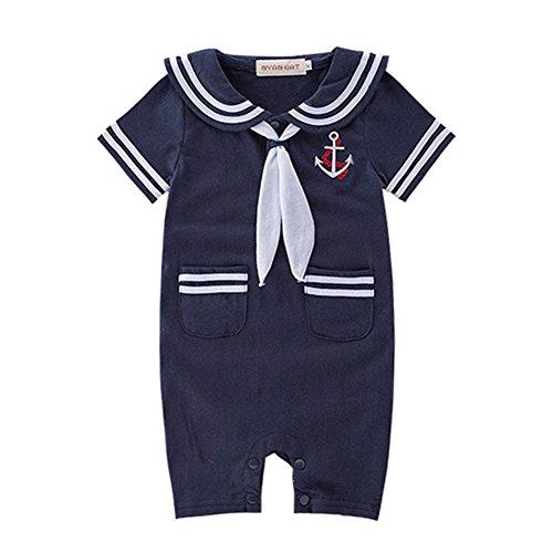 DREAMOWL Junge Kleinkind Matrosenanzug Streifen Strampler Navy Baby Body Outfit 12-18 monate marine
