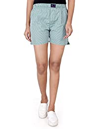 Viral Girl Brings Men's&Women's Green Checks Printed Cotton Night Wear Boxer Shorts.