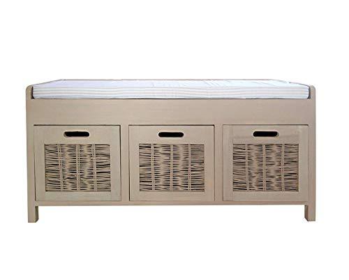 Rebecca mobili panca con 3 cassetti, panchina da interno con seduta imbottita, legno di paulownia, beige, stile country, salotto ingresso - misure: 44 x 90 x 34 cm (hxlxp) - art. re4201