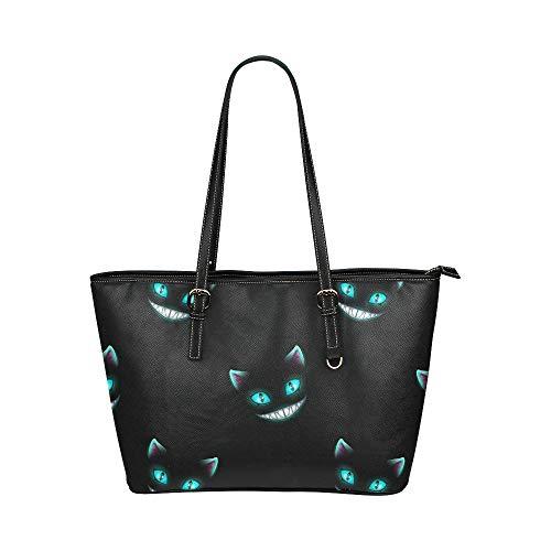 Verschwinden Sie Katze Lächeln Gesicht große Leder tragbare Top Griff Hand Totes Taschen kausalen Handtaschen mit Reißverschluss Schulter Shopping Geldbörse Gepäck Veranstalter für Lady Girls Womens