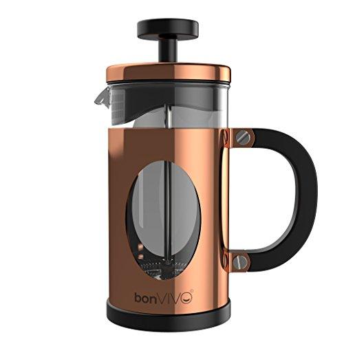 bonVIVO® GAZETARO I Design-Kaffeebereiter Und French Press Coffee Maker In Kupfer-Optik, Kaffee-Kanne Aus Glas Mit Edelstahl-Rahmen, Kaffee-Presse Mit Edelstahl-Filter, klein, 0,35l / 350ml (3 Tassen)