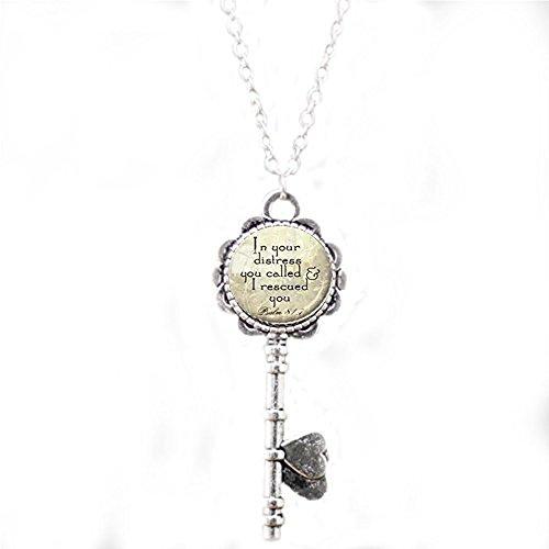 nijiahx Halskette mit Schlüsselanhänger, Silber, christliche Schrift, Psalm 81:7 Schlüsselanhänger, christlicher Schmuck, Bibel, Vers, Aqua Geschenk