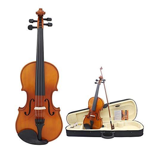 Violino Solid Acero Abete Legno Violino Hard Fiddle Custodia per Chitarra Acustica Violino Pacchetto Principianti con Accessori Arco Chin Rest Ponte Rosin Lucido Finitura Handmade 4/4 Full Size