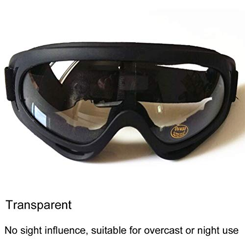 YALIMAMA - Occhiali Antivento per Moto, Ciclismo, Protezione UV400, per Moto da Cross, Fuoristrada, ATV, Transparent
