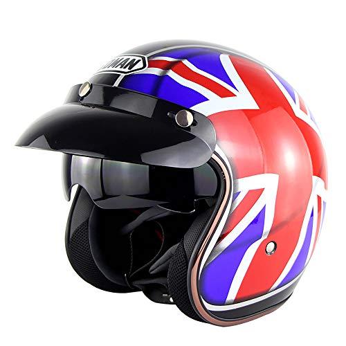 Motorrad-Harley Helmet Retro-Stil Safety Half Helm Built-in Retractable Lens Anti-Blendschutz Vision für vier Jahreszeiten Unisex,S