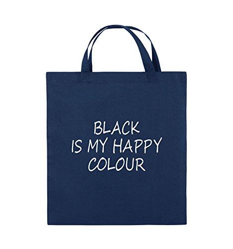 Comedy Bags - BLACK IS MY HAPPY COLOUR - Jutebeutel - kurze Henkel - 38x42cm - Farbe: Schwarz / Silber Navy / Weiss