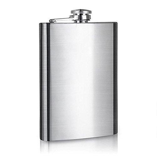 Edelstahl-Flachmann, 8 Unzen tragbarer geschliffener Edelstahl-Schnaps-Flachmann-Wein-Flasche mit kleiner Trichter-Schale (8 Unzen-flasche)