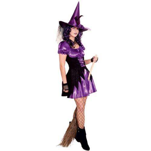 Sexy Hexe Kleid lila/schwarz (Sexy Hexe Erwachsene Kostüme)