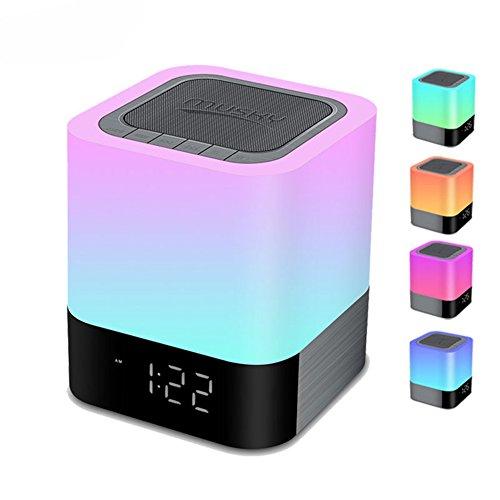 Preisvergleich Produktbild Nachttischlampe mit Bluetooth Lautsprecher,  HomeYoo LED Nachtbeleuchtung mit Uhr und Dimmable Touch Sensor,  für Kinder Babys Wohnzimmer und Schlafzimmer Tisch / tragbar leicht und einfach zu bedienen (Weiß))