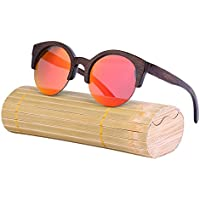 lzndeal Vintage Women Half Frame Bamboo Round Sunglasse Wooden SunglassesUV400 Polarized Lens Sun Glasses a3ukAM