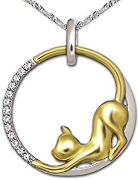 CLEVER SCHMUCK-SET Silberner Anhänger rund Ø 20 mm sich streckende Katze im Ring teilvergoldet bicolor mit Zirkonia...