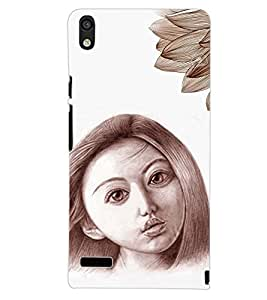 PrintDhaba FEATHER GIRL D-6125 Back Case Cover for HUAWEI ASCEND P6 (Multi-Coloured)