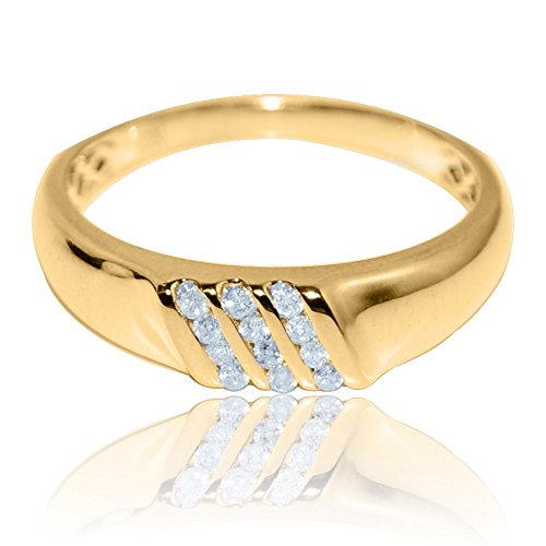 Rings-midwestjewellery. com uomo 6mm larghezza diamante fede nuziale in oro giallo 10k 0.12cttw comfort fit