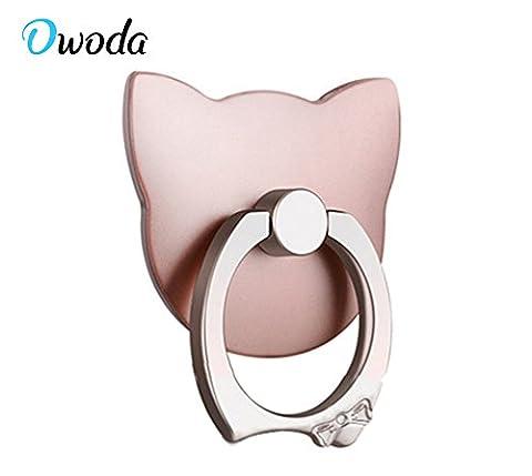 Owoda Cute Cat Pet Support d'anneau de téléphone 360 degrés de rotation Ring Grip Anti Drop Porte-doigts Pour iPhone iPad et tout le téléphone portable (PC Cat-Or rose)