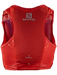 SALOMON ADV Hydra Vest 4 Chaleco de hidratación 4L, 2 Botellas SoftFlask 500 ml Incluidas, Unisex-Adult, Rojo, S