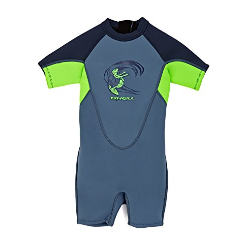 ONeill Toddler Kids Youth Kinder Junior Junior 2MM Zurück Zip Shorty Neoprenanzug Dusty Blue Dayglo Slate - YKK Back Zip System