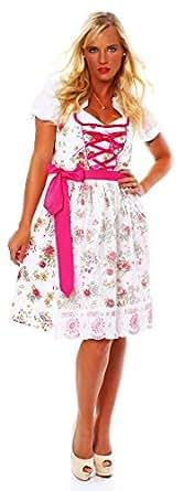 10588 Fashion4Young Damen Dirndl 3 tlg.Trachtenkleid Kleid Mini Bluse Schürze Trachten Oktoberfest (34, Weiß Pink)