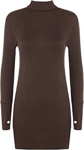 WearAll - Damen Elastisch Anliegend Langarm Rollkragen Kurz Kleid Top mit Daumenloch - 7 Farben - Größe 36-42 Dunkelbraun