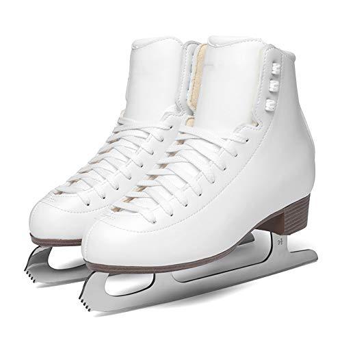 VerOut Muster Ice Figure Skates, Abbildung Frauen/Kinder Schlittschuh,Weiß,34