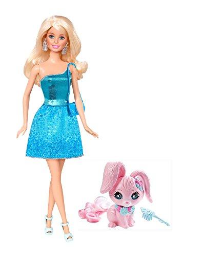 Ostern Kleid Set (Mattel-barbie Original Puppe und Tier Set - Barbie im glitzernden Kleid türkis, mit Handtasche, Highheels und Ohrringen - inkl. Hase, Häschen - super für Kindergeburtstag, Ostern .....)