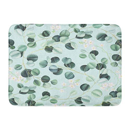 LIS HOME Fußmatten Badteppiche Outdoor/Indoor Fußmatte Grün Smaragd Eukalyptus Blätter und kleine weiße Blumen auf Türkis Aquarell Blau Botanische Badezimmer Dekor Teppich Badematte -