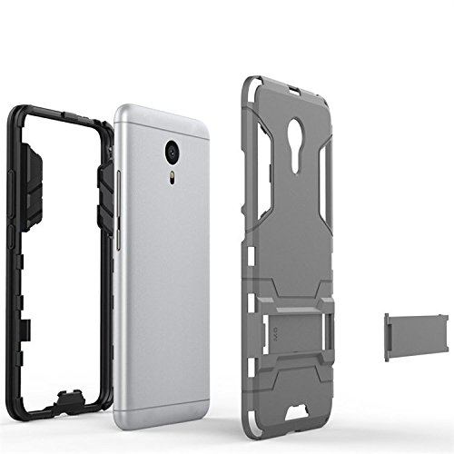 Chevron Rugged Terrain Armor Protective Shockproof Kick Stand Back Cover Case for Meizu m3 note (Grey)