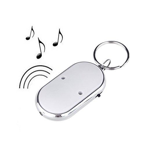 Anself LED-Schlüsselfinder, Lokalisierer für verlorene Schlüssel, Schlüsselanhänger, Pfeife mit Sound Control