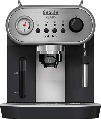 Gaggia Carezza - Cafetera (Independiente, Acero inoxidable,  De café molido, Vaina, Café expreso, Leche caliente, Agua caliente, 1,4L, Negro)