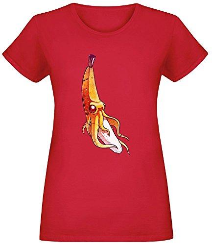 Bananen-Krake - Banana Octopus T-Shirt Top Short Sleeve Jersey for Women 100% Soft Cotton Womens Clothing Medium -