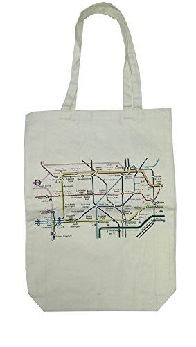 100% coton de Londres (Blanc) Underground Plan main épaule Imprimé Sac Fourre-tout(white underground bag)
