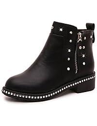 xzz/botas para mujer otoño/invierno tacones/plataforma/moda botas fiesta y tarde/vestido/casual Chunky talón, beige-us6.5-7 / eu37 / uk4.5-5 / cn37