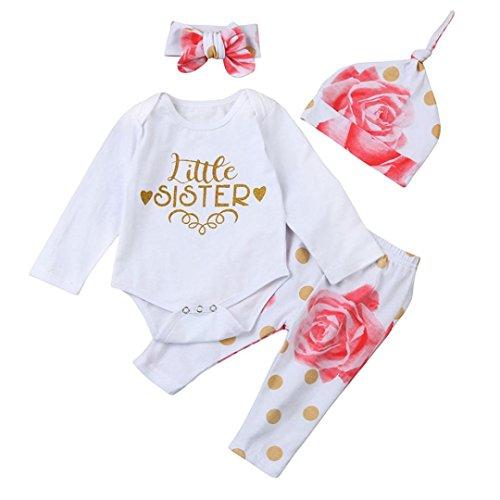 Neugeborenen Strampler Hirolan Babykleidung Strumpfhosen Säugling Mädchen Spielanzug Lange Hülse Tops Blumen Hose Hut 4 Stück Outfits Kleider Set Schreiben'little sister ' (90cm, Weiß)
