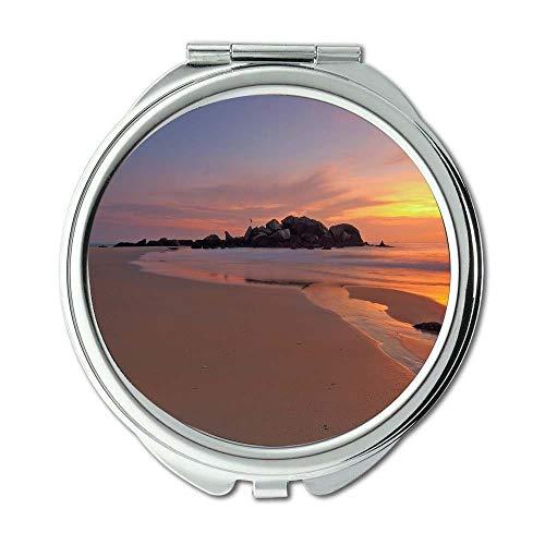 Yanteng Spiegel, Schminkspiegel, Strand Dämmerung Dämmerung, Taschenspiegel, tragbarer Spiegel
