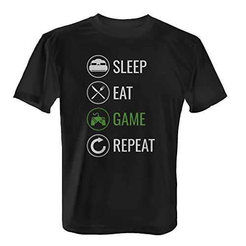 Sleep Eat Game Repeat - Herren T-Shirt von Fashionalarm | Fun Shirt Spruch Kreislauf Tagesablauf Schlafen Essen Zocken Wiederholen Gaming Spielen PC Konsole Computer Gamer, Farbe:schwarz;Größe:L
