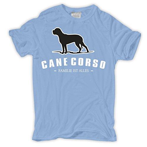 Männer und Herren T-Shirt Cane Corso - Familie ist alles Größe S - 8XL Hellblau