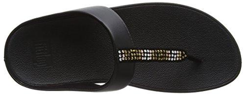 Fitflop Fino Strobe Toe-Thong Sandals, Sandali Punta Aperta Donna Black (Black)