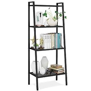 Homfa Bücherregal Metall Standregal Leiterregal Treppenregal Lagerregal Badregal Stufenregal Pflanzenregal mit 4 Böden 60x35x147cm