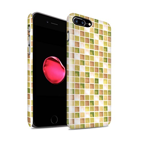 STUFF4 Matte Snap-On Hülle / Case für Apple iPhone 8 Plus / Lila/Grün Muster / Bad Fliesen Kollektion Gelb/Braun