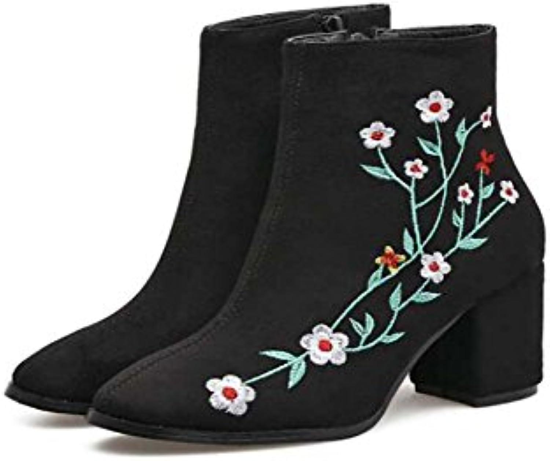 7cm Chunkly Heel Ricamato Stivaletto Stivali Donne Chelsea Donne Donne Charming Round Toe Seude Fiori Stivali... | Eccellente qualità  | Scolaro/Ragazze Scarpa