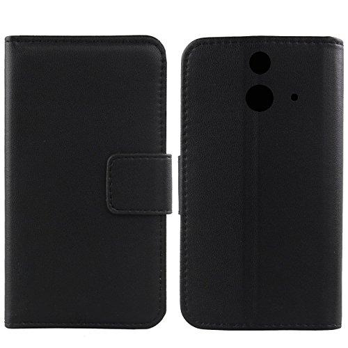 Gukas Design Echt Leder Tasche Für HTC One E8 Hülle Handy Flip Brieftasche mit Kartenfächer Schutz Protektiv Genuine Premium Case Cover Etui Skin Shell (Schwarz)