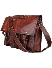 SR Genuine Leather Bag , Messenger Bag , Leather Office School College Laptop Shoulder Bag Real Brown Briefcase...