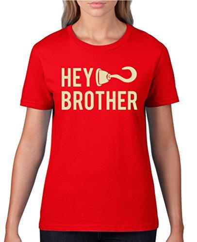 Comedy Shirts - Hey brother Haken - Damen T-Shirt - Rot / Beige Gr. XL (T-shirt Hey Roten Hey)