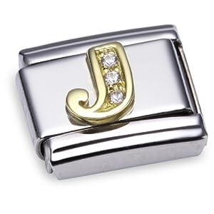 Nomination Comp. Classic BUCHST. Edelstahl, 18K-Gold und Cubic Zirc. (J) 030301